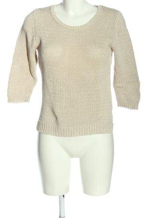 s.Oliver Jersey de ganchillo blanco puro punto trenzado look casual