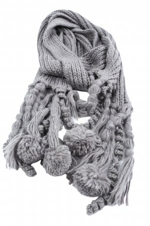s.Oliver Crochet Scarf light grey cable stitch casual look