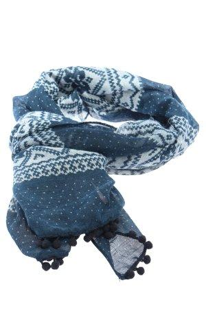 s.Oliver Foulard bleu-blanc imprimé allover style décontracté