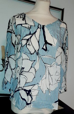 s.Oliver hellblau gestreifte blumenabstrahierte Shirtbluse