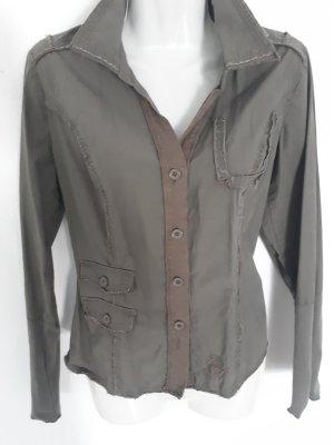 QS by s.Oliver Camisa de manga larga gris verdoso-caqui Algodón