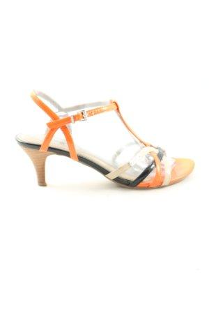 s.Oliver High Heel Sandaletten hellorange-schwarz Casual-Look