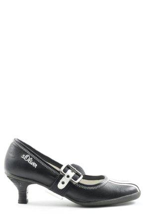 s.Oliver Escarpins Mary Jane noir-blanc style décontracté