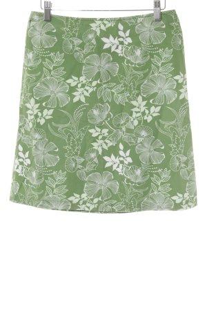 s.Oliver High Waist Rock grasgrün-weiß Blumenmuster