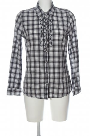 s.Oliver Camisa de leñador blanco-negro estampado a cuadros look casual