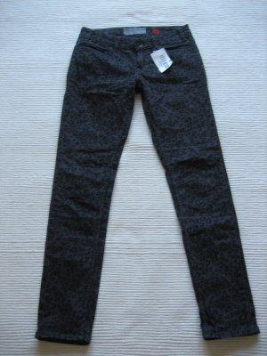 s.oliver jeans leoprint neu gr. s 36 grau schwarz