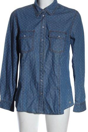 s.Oliver Chemise en jean bleu-blanc imprimé allover style décontracté