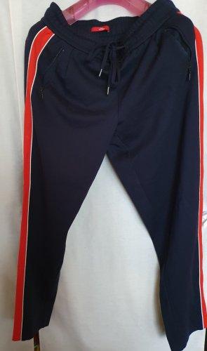 S Oliver Jogg Pant Jersey Sweat Hose lang blau Seiten Streifen rot Gr 36