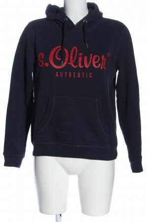 s.Oliver Kapuzensweatshirt blau-rot Schriftzug gedruckt Casual-Look