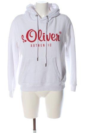 s.Oliver Kapuzensweatshirt weiß-rot Schriftzug gedruckt Casual-Look