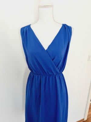 s. Oliver Kleid mit V-Ausschnitt Midikleid Sommerkleid Partykleid blau 38 M