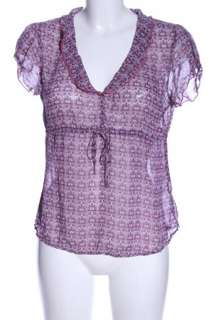 s.Oliver Kurzarm-Bluse lila-weiß Allover-Druck Casual-Look