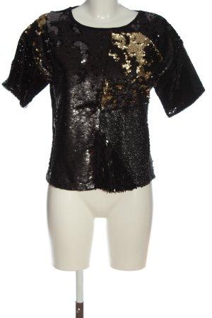 s.Oliver Kurzarm-Bluse schwarz-goldfarben Elegant