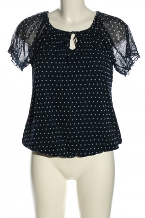 s.Oliver Kurzarm-Bluse schwarz-weiß Punktemuster Casual-Look