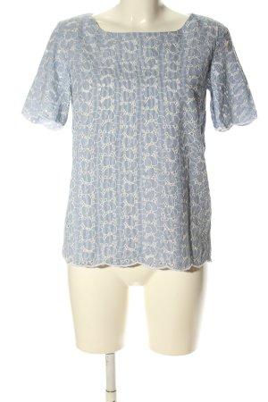 s.Oliver Kurzarm-Bluse blau-weiß Schriftzug gestickt Casual-Look