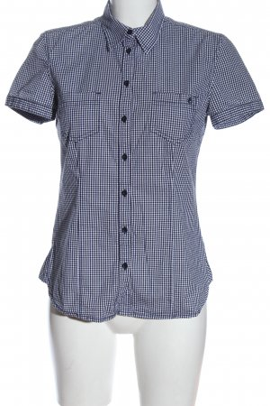 s.Oliver Short Sleeve Shirt black-white check pattern business style