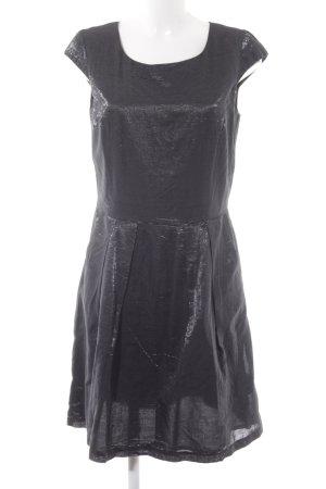 s.Oliver Kurzarmkleid schwarz-silberfarben Streifenmuster Elegant