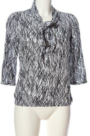 s.Oliver Langarm-Bluse weiß-schwarz abstraktes Muster Casual-Look