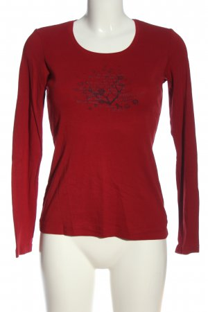 s.Oliver Langarm-Bluse rot-schwarz Motivdruck Casual-Look