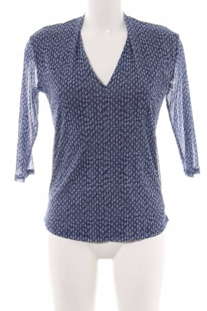 s.Oliver Langarm-Bluse blau-weiß Allover-Druck Casual-Look