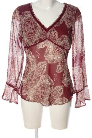 s.Oliver Langarm-Bluse rot-wollweiß abstraktes Muster Elegant