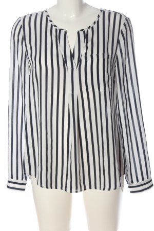 s.Oliver Long Sleeve Blouse white-black striped pattern casual look