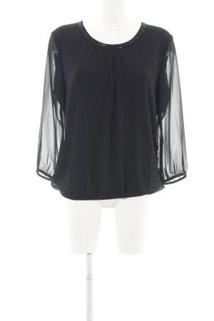 s.Oliver Langarm-Bluse schwarz Casual-Look