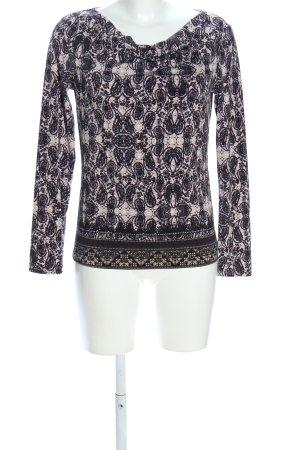 s.Oliver Langarm-Bluse creme-schwarz abstraktes Muster Casual-Look