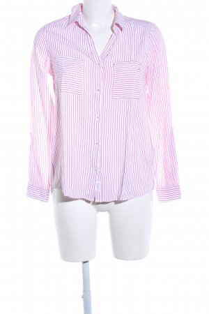 s.Oliver Langarm-Bluse weiß-pink Streifenmuster Casual-Look