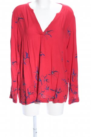 s.Oliver Langarm-Bluse rot-blau Allover-Druck Casual-Look