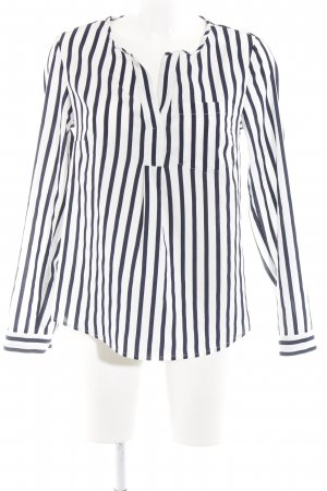 s.Oliver Langarm-Bluse weiß-dunkelblau Streifenmuster Casual-Look