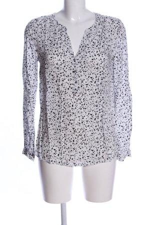 s.Oliver Langarm-Bluse weiß-schwarz Allover-Druck Elegant