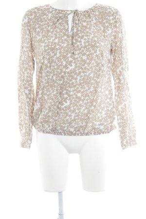 s.Oliver Langarm-Bluse wollweiß-beige Blumenmuster Casual-Look