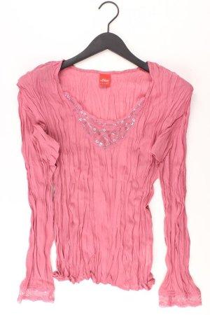 s.Oliver Langarmbluse Größe 38 mit Pailletten pink aus Polyester