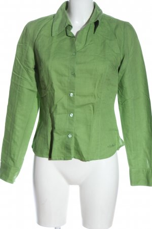 s.Oliver Langarmhemd grün Schriftzug gestickt Business-Look