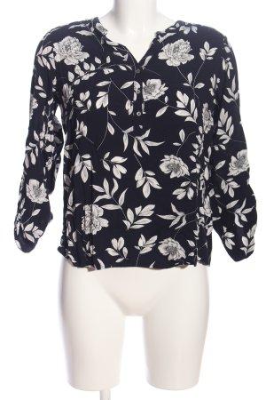 s.Oliver Langarmhemd schwarz-weiß Blumenmuster Casual-Look
