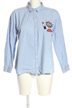 s.Oliver Camisa de manga larga azul-blanco estampado a rayas look casual