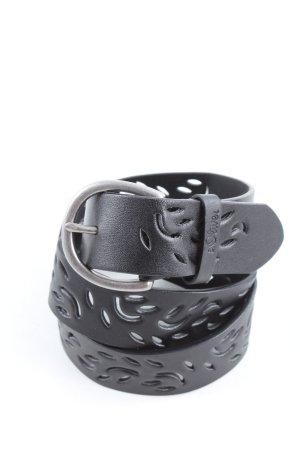 s.Oliver Cintura di pelle nero-argento stile casual