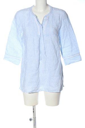 s.Oliver Blouse en lin blanc-bleu imprimé allover style décontracté