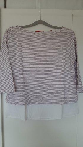s.Oliver luftiges Shirt 3/4-Ärmel rot weiß gemustert 2-in-1-Lagenlook Gr. 36