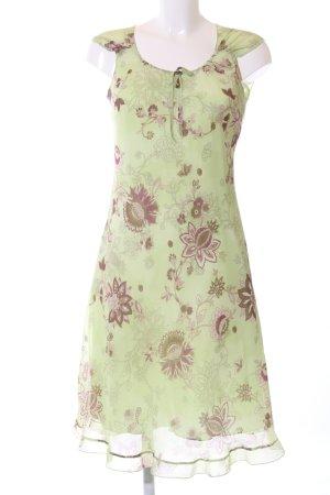 s.Oliver Midikleid grün-braun Blumenmuster Casual-Look
