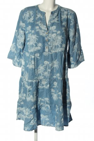s.Oliver Blusenkleid blau-weiß Allover-Druck Casual-Look