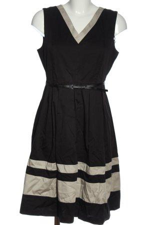 s.Oliver Cocktailkleid schwarz-creme Streifenmuster Elegant