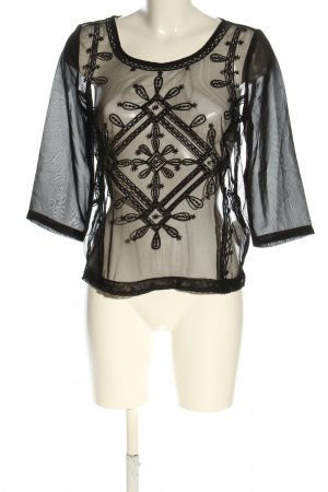s.Oliver Mesh Shirt black graphic pattern casual look