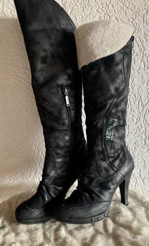 s. Oliver (QS designed) Buty nad kolano czarny-biały