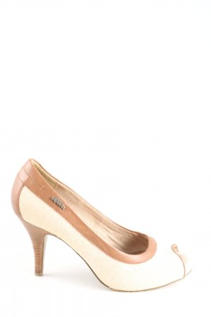 s.Oliver Peeptoe Pumps wollweiß-braun Casual-Look