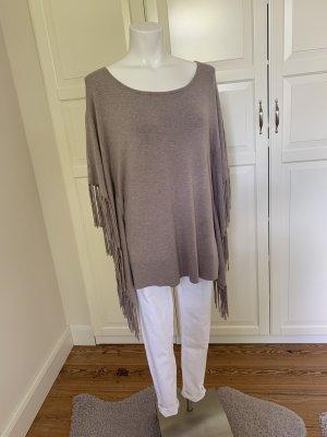 S.Oliver Premium Poncho en tricot gris brun
