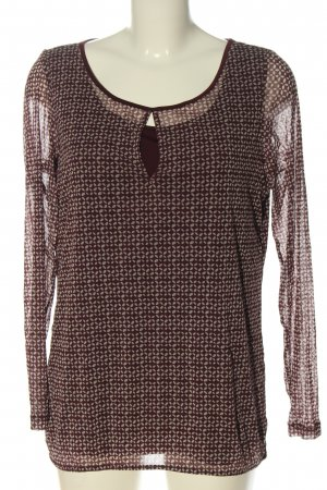 S.Oliver Premium Langarm-Bluse rot-weiß abstraktes Muster Casual-Look