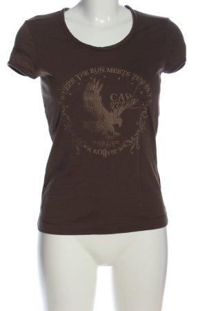 s.Oliver Print-Shirt braun-wollweiß Motivdruck Casual-Look