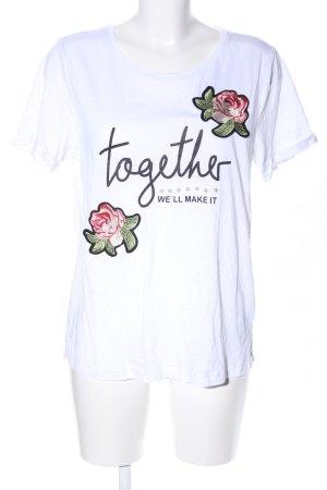 s.Oliver Print-Shirt weiß-schwarz Motivdruck Casual-Look